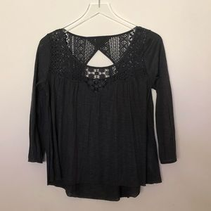 American Eagle Outfitters 3/4 Sleeve Dark Gray Top